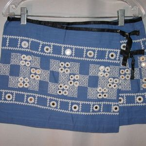 Free People Embroidered Mirror Wrap Mini Skirt 10